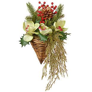 National Tree Company Cymbidium Flower Wall Basket, , large
