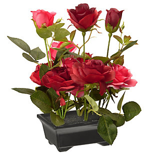 National Tree Company Potted Red Rose Flowers, , large