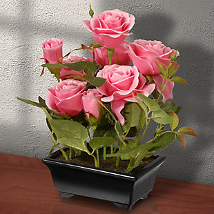 National Tree Company Potted Pink Rose Flowers, , rollover