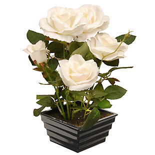 National Tree Company Potted White Rose Flowers, , large