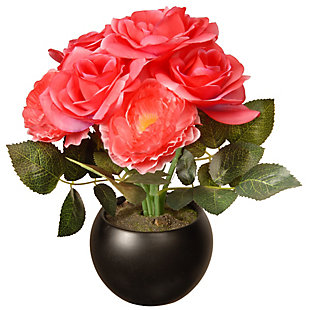 National Tree Company Potted Pink Rose Flowers, , large