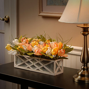 National Tree Company Planter with Assorted Color Tulips, , rollover