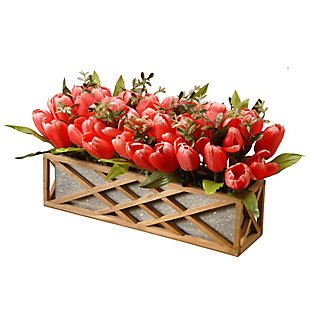 National Tree Company Planter with Pink Tulips, , large