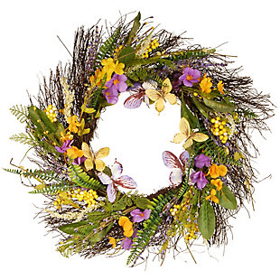 National Tree Company Mixed Flowers Spring Wreath, , large