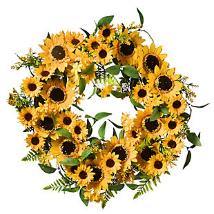 National Tree Company Spring Sunflower Wreath, , large