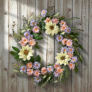 National Tree Company Dahlia and Daisy Wreath, , rollover