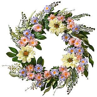 National Tree Company Dahlia and Daisy Wreath, , large