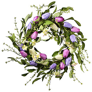 National Tree Company Tulip Flowers Wreath, , large