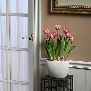 National Tree Company Pink Tulip Flowers, , rollover