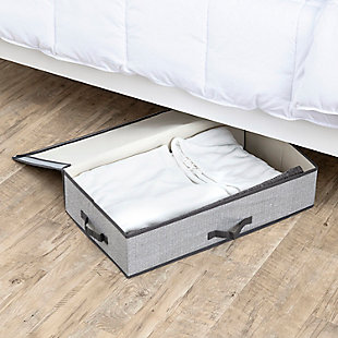 Home Basics Herringbone Under the Bed Storage Box with Label Window, , rollover