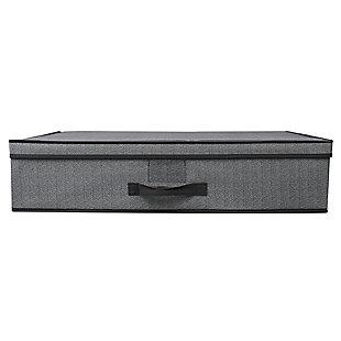 Home Basics Herringbone Under the Bed Storage Box with Label Window, , large