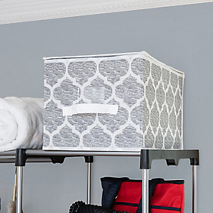 Home Basics Arabesque Large Storage Box with Label Window, , rollover