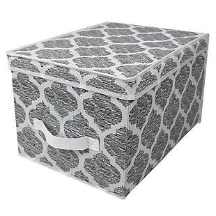 Home Basics Arabesque Large Storage Box with Label Window, , large