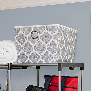 Home Basics Arabesque Large Open Storage Tote, , rollover