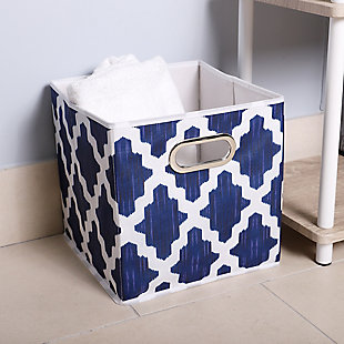 Home Basics Ornate Lattice Weave Collapsible Storage Cube with Handle, , rollover