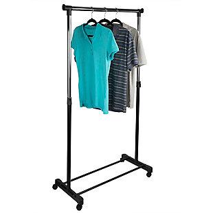 Home Basics Rail Adjustable Rolling Garment & Wardrobe Organizing Rack, , large