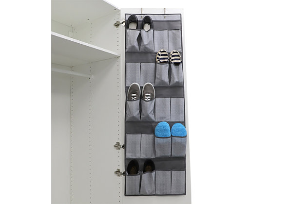 Home Basics Herringbone 20 Pocket Over the Door Shoe Oganizer, , large