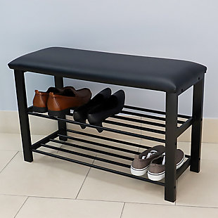 Home Basics Cushioned Storage Bench with 2 Tier Steel Shoe Rack, , rollover