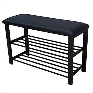 Home Basics Cushioned Storage Bench with 2 Tier Steel Shoe Rack, , large