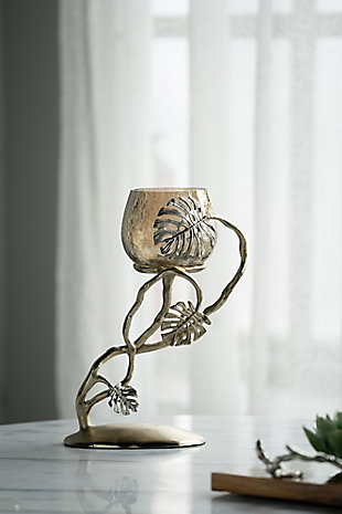 Gold Palm Pillar Candle Holder, , rollover