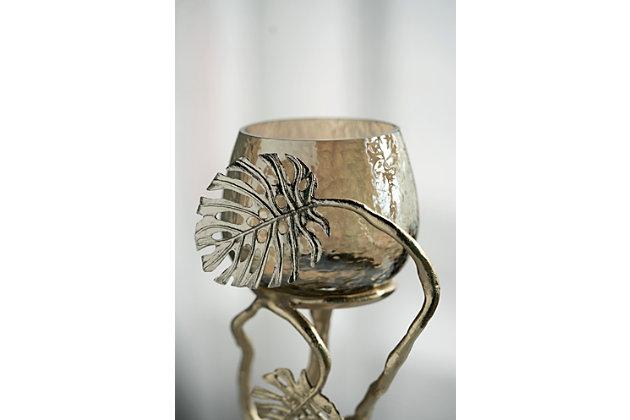 Gold Palm Pillar Candle Holder, , large