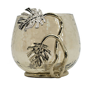 Gold Palm Votive Holder, , large
