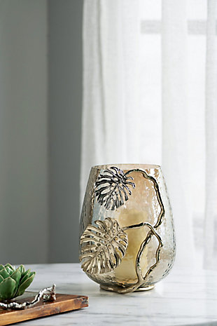 Gold Palm Candle Holder, , rollover