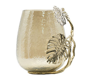 Gold Palm Candle Holder, , large