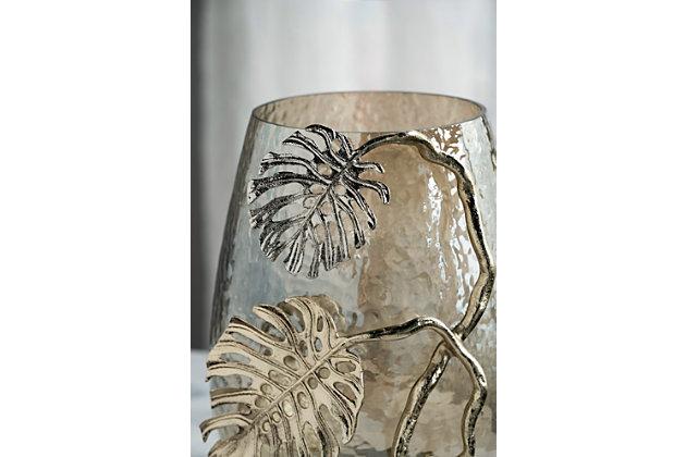 Gold Palm Candle Holder, , large