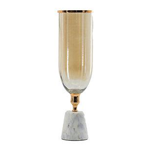 Large Glass Vase with Marble Base, , large