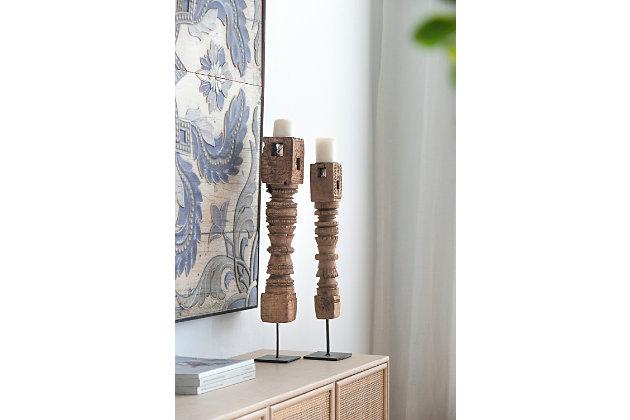 Antique Carved Large Pillar Candle Holder, , large