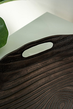 Large Decorative Timber Round Tray, , rollover