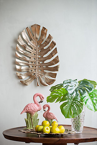 Aluminum Wall Leaf Hanging Large Bowl, , rollover