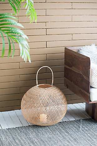 Medium Natural Bamboo Lantern, , rollover