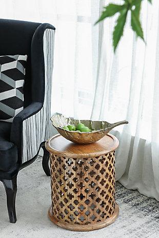 Gold Aluminum Leaf Decorative Bowl, , rollover