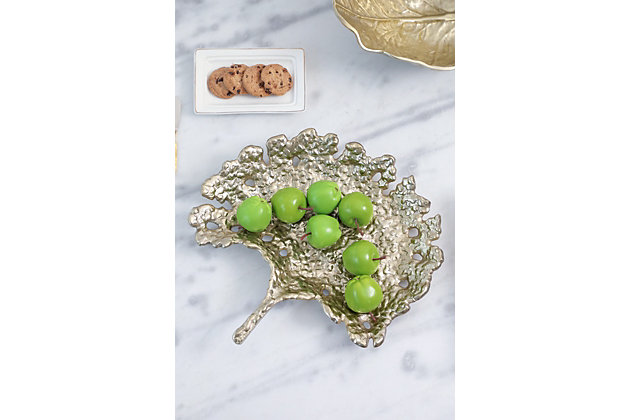 Gold Aluminum Leaf Decorative Plate, , large