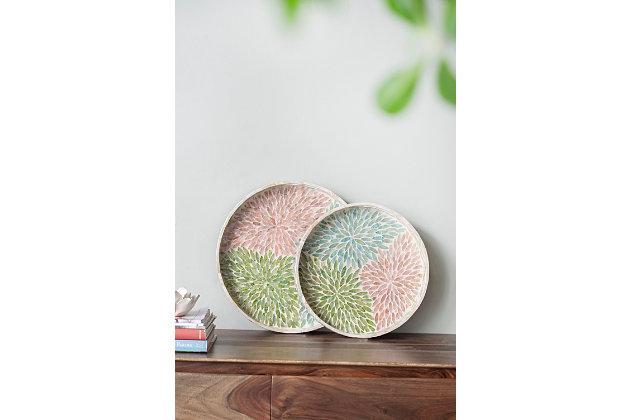 Large Round Multicolored Capiz Tray, , large