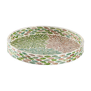 Large Round Multicolored Capiz Tray, , large