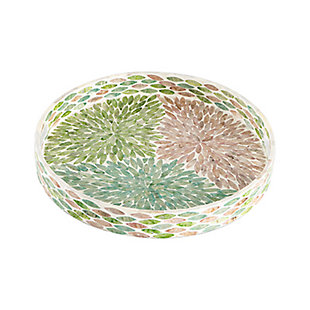 Small Round Multicolored Capiz Tray, , large