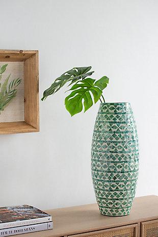 Tall Green Capiz Vase, , rollover