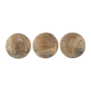 Set of 3 Teak Ball Set, , large