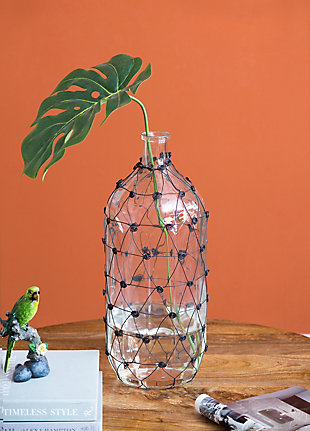 Glass and Wire Tall Vase, , rollover
