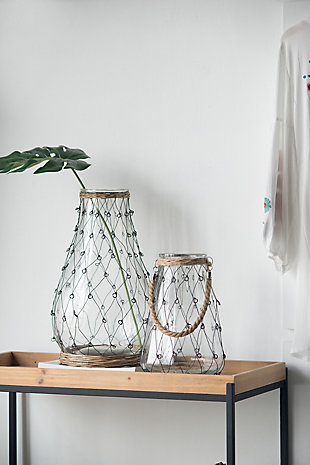 Glass and Wire Teardrop Tall Vase, , rollover