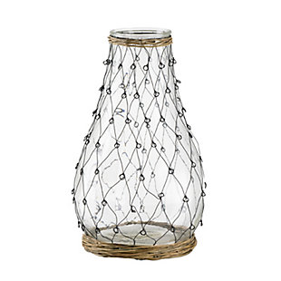 Glass and Wire Teardrop Tall Vase, , large