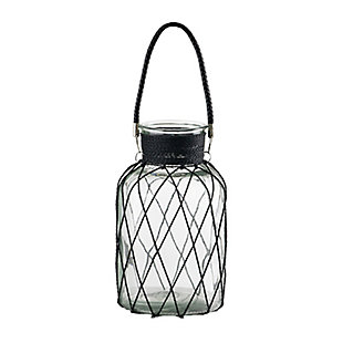 Glass and Wire Large Vase with Handle, , large