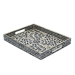Small Black Capiz Tray with Handles, , large