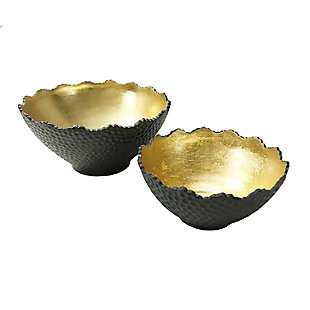 Black Bowl with Gold Inside (Set of 2), , rollover