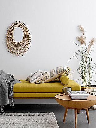 Bloomingville Decorative Beige Oval Rattan Mirror, , rollover