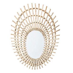 Bloomingville Decorative Beige Oval Rattan Mirror, , large