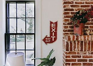 "Creative Co-Op Urban Homestead Metal ""Exit, Way Out"" Plaque, , rollover"